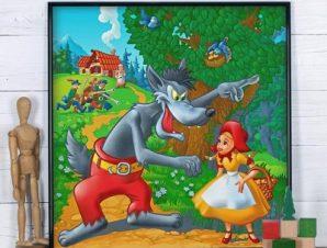Κοκκινοσκουφίτσα Παιδικά Πίνακες σε καμβά 50 x 50 cm