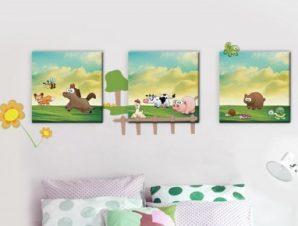 Ζωάκια Παιδικά Πίνακες και αυτοκόλλητα 125×45