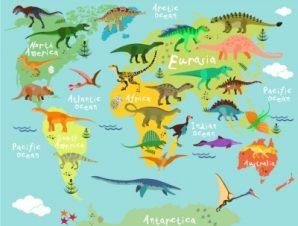 Χάρτης Με Άγρια Ζώα Παιδικά Ταπετσαρίες Τοίχου 94 x 120 cm