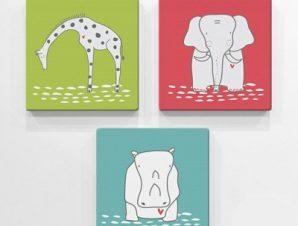 Ζώα Παιδικά Mini Set καμβάς 25 x 25 cm