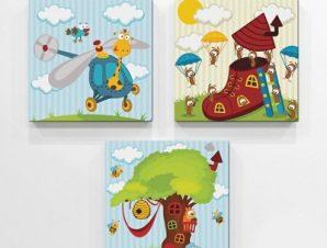 Παίζω με τα ζώα Παιδικά Mini Set καμβάς 25 x 25 cm