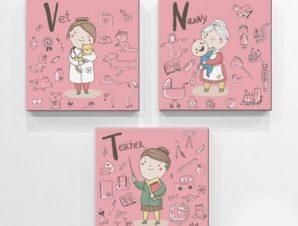Επαγγέλματα ροζ φόντο Παιδικά Mini Set καμβάς 25 x 25 cm