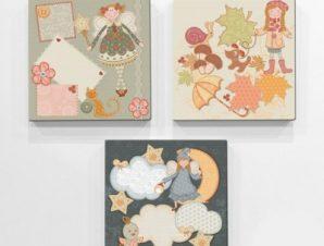 Ρετρό κούκλες Παιδικά Mini Set καμβάς 25 x 25 cm