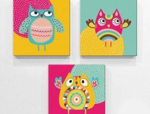 Κουκουβάγιες Παιδικά Mini Set καμβάς 25 x 25 cm