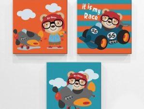 Αρκουδάκια Παιδικά Mini Set καμβάς 25 x 25 cm