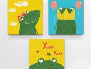Βατράχια Παιδικά Mini Set καμβάς 25 x 25 cm