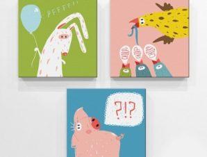 Αστεία Ζώα Παιδικά Mini Set καμβάς 25 x 25 cm