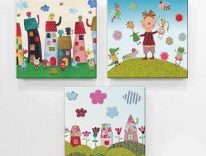 Μικρό χωριό Παιδικά Mini Set καμβάς 25 x 25 cm