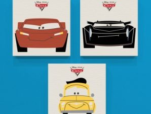 Cars 3!! Παιδικά Mini Set καμβάς 25 x 25 cm