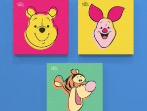 Τα πρόσωπα από το Γουίνι, το Τίγρη και το Γουρουνάκι Παιδικά Mini Set καμβάς 25 x 25 cm