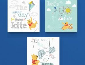 Flying a kite, Winnie the Pooh! Παιδικά Mini Set καμβάς 25 x 25 εκ.