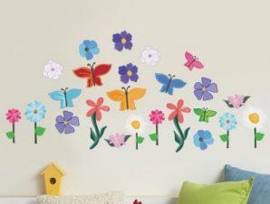 Λουλόυδια & πεταλούδες Παιδικά Mini Pack αυτοκόλλητα 100×100 cm
