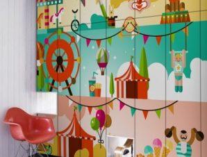 Τσίρκο Παιδικά Αυτοκόλλητα ντουλάπας 61 x 185 cm
