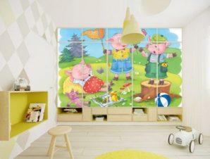 Μικρά Γουρουνάκια Παιδικά Αυτοκόλλητα ντουλάπας 61 x 185 cm