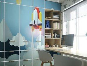 Πάνω Στα Σύνεφφα Παιδικά Αυτοκόλλητα ντουλάπας 61 x 185 cm