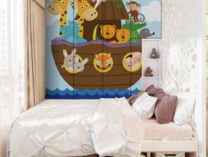 Ζωάκια Σε Βάρκα Παιδικά Αυτοκόλλητα ντουλάπας 61 x 185 cm
