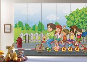 Ώρα για ποδήλατο Παιδικά Αυτοκόλλητα ντουλάπας 61 x 185 cm