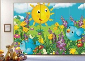Ηλιόλουστη Μέρα Παιδικά Αυτοκόλλητα ντουλάπας 61 x 185 cm