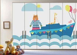 Ζωάκια στην Θάλασσα Παιδικά Αυτοκόλλητα ντουλάπας 61 x 185 cm