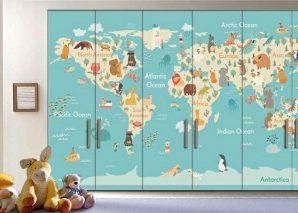 Χάρτης με Ζώα Παιδικά Αυτοκόλλητα ντουλάπας 61 x 185 cm