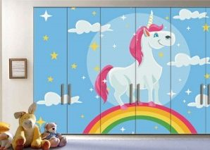 Πολύχρωμος Μονόκερος Παιδικά Αυτοκόλλητα ντουλάπας 61 x 185 cm