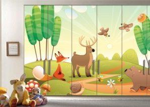 Ζωάκια στο δάσος Παιδικά Αυτοκόλλητα ντουλάπας 61 x 185 cm