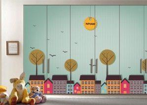 Καλημέρα Μικρή πόλη Παιδικά Αυτοκόλλητα ντουλάπας 61 x 185 cm
