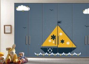 Καραβάκι Παιδικά Αυτοκόλλητα ντουλάπας 61 x 185 cm