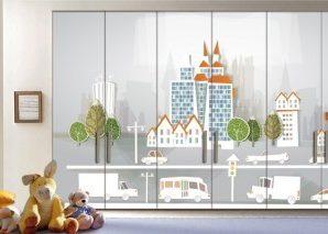 Πόλη Παιδικά Αυτοκόλλητα ντουλάπας 61 x 185 cm