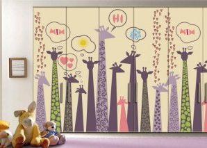 Καμηλοπαρδάλεις Παιδικά Αυτοκόλλητα ντουλάπας 61 x 185 cm