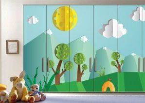 Ηλιόλουστη μέρα στο δάσος Παιδικά Αυτοκόλλητα ντουλάπας 61 x 185 cm