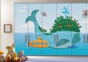 Φάλαινα Παιδικά Αυτοκόλλητα ντουλάπας 61 x 185 cm