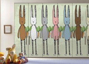 Κουνέλια και καρότα Παιδικά Αυτοκόλλητα ντουλάπας 61 x 185 cm