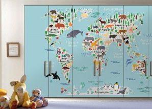 Παιδικός Χάρτης με όμορφα ζωάκια Παιδικά Αυτοκόλλητα ντουλάπας 61 x 185 cm