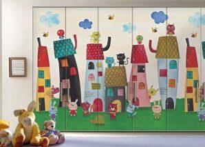 Πολύχρωμη μικρή πόλη Παιδικά Αυτοκόλλητα ντουλάπας 61 x 185 cm