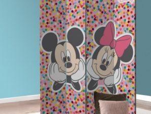 Ο Mickey και η Minnie σε πολύχρωμο φόντο! Παιδικά Παραβάν 80×180 cm [Δίφυλλο]