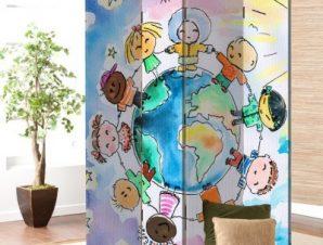 Γύρος του κόσμου Παιδικά Παραβάν 80×180 cm [Δίφυλλο]