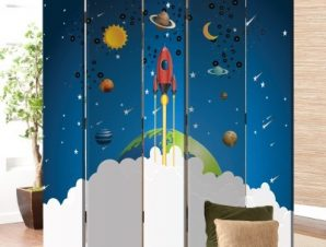 Μικρός Πύραυλος Παιδικά Παραβάν 80×180 cm [Δίφυλλο]