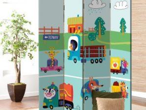 Ζωάκια Με Αυτοκίνητα Παιδικά Παραβάν 80×180 cm [Δίφυλλο]
