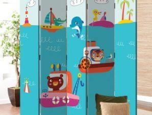 Ζωάκια Σε Βαρκούλες Παιδικά Παραβάν 80×180 cm [Δίφυλλο]
