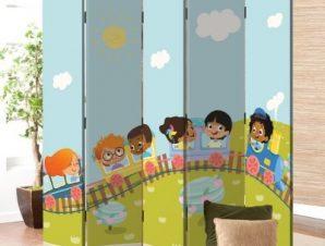 Παιδάκια Σε Τραινάκι Παιδικά Παραβάν 80×180 cm [Δίφυλλο]