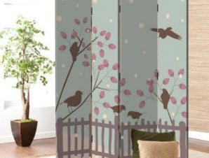 Πουλιά σε χειμερινό φόντο Παιδικά Παραβάν 80×180 cm [Δίφυλλο]