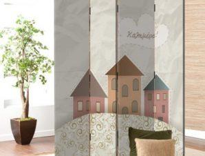 Ρετρό σπίτια Παιδικά Παραβάν 80×180 cm [Δίφυλλο]