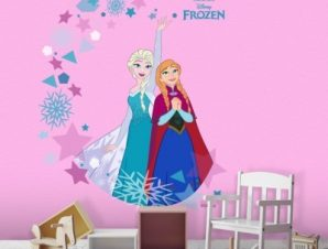Elsa & Anna, Frozen Παιδικά Αυτοκόλλητα τοίχου 54 x 46 cm