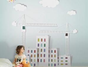 Κτίρια και γερανοί Παιδικά Ταπετσαρίες Τοίχου 114 x 90 cm