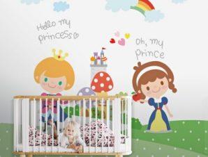 Πρίγκιπας και Πριγκίπισσα Παιδικά Ταπετσαρίες Τοίχου 118 x 90 cm