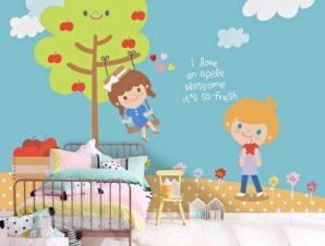 Παιδάκια παίζουν Παιδικά Ταπετσαρίες Τοίχου 117 x 90 cm
