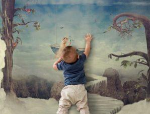 Φανταστική πόλη ψηλά στον ουρανό Παιδικά Ταπετσαρίες Τοίχου 93 x 100 cm