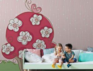 Ανοιξιάτικο κεϊκάκι Παιδικά Ταπετσαρίες Τοίχου 100 x 100 cm