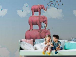 Ροζ ελέφαντες Παιδικά Ταπετσαρίες Τοίχου 113 x 85 cm